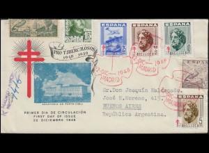 Spanien 968 Pro Tuberkulosos mit passender Frankatur Schmuck-R-FDC 22.12.1948