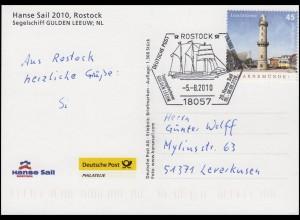 Segelschiff GULDEN LEEUW, Ansichtskarte SSt Rostock Segler GULDEN LEEUW 5.8.2010