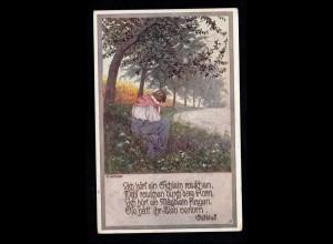Lyrik-AK Volksliedkarte Kutzer: Ich hör ein Eichlein rauschen, Feldpost 1914