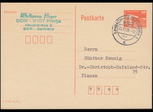 Postkarte P 86II Kleine Bauwerke 10 Pf mit DV, LIMBACH-OBERFROHNA 25.1.1988