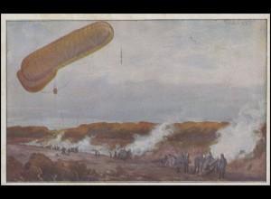 Gemälde-AK Schulze: Fesselballon, die Artilleriewirkung beobachtend, ungebraucht