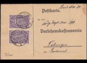 255 Queroffset 4000 Mark MeF auf Fernpostkarte STUTTGART 25.8.23 nach Täbingen