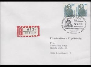 1381 Rolandsäule Bremen, Paar MeF R-Brief SSt Bremen Ausstellung 14.4.1991