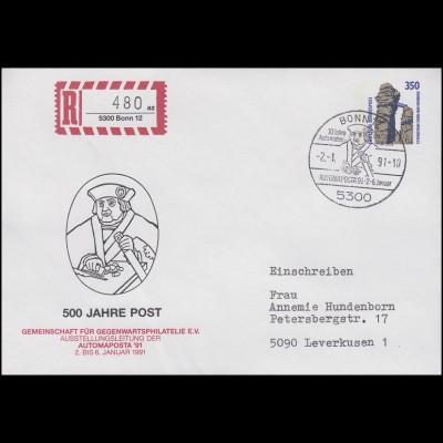 Privatumschlag 500 Jahre Post+AUTOMAPOSTA, SSt Bonn 10 Jahre deutsche ATM 2.1.91
