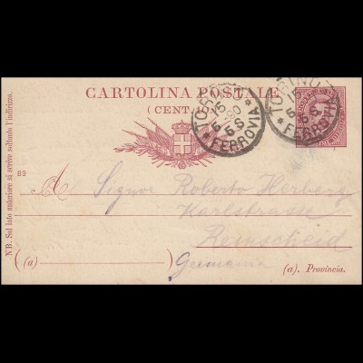 Italien Postkarte P 17 König Humbert I. Druckjahr 89, TORINO / TURIN 15.5.1890