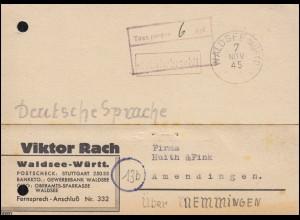Gebühr Bezahlt und Taxe-Stempel 6 Rpf. auf Postkarte WALDSEE (WÜRTT.) 7.11.1945