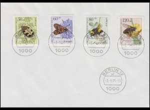 712-715 Jugend Bestäubungsinsekten 1984 - Satz auf Blanko-Brief BERLIN 3.9.85