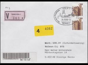 1348 SWK Hambacher Schloss, MeF Wert-Brief nach Schweden SSt Köln 24.10.1996