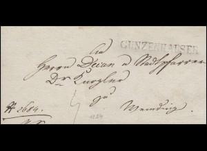 Bayern Vorphilatelie Briefhülle schwarzer Einzeiler GUNZENHAUSEN (1824)