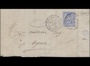 63II Frieden und Handel 25 C. als EF auf Brief BORDEAUX 10.7.1877 nach Agen