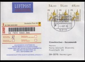 SWK Kirche Wiesbanden, MeF R-Bf SSt Bonn Premiere Briefzusatzleistung 1.9.97