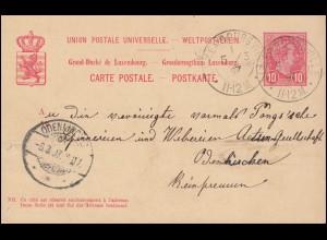 Germania 5 Pf EF auf Postkarte BÜNDE 30.1.07 nach RINTELN 31.1.07
