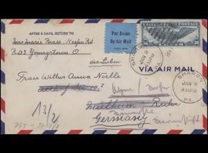 Zensurpost: Luftpost-Brief aus den USA Sharon 9.1.1941 nach Mülheim/Ruhr