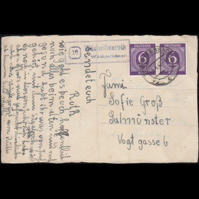 Landpost-Stempel Wüstwillenroth über WÄCHTERSBACH um 1947 auf Oster-AK
