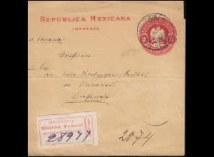 Mexiko: Streifband als Einschreiben aus Mexico 11.1.1901 nach Deutschland