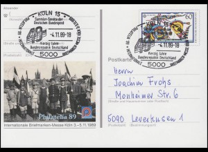 PSo 19 Philatelia Köln & Europa, SSt Köln Bundesrepublik Deutschland 4.11.89