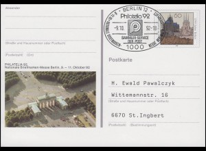 PSo 28 Berlin PHILATELIA, FDC ESSt Berlin PHILATELIA-Messesymbol 9.10.92