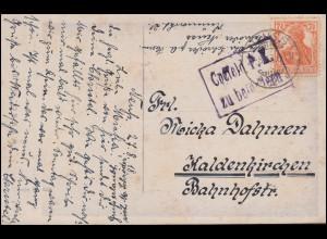 Zensur Crefeld P.K. Geprüft und zu befördern, AK Hans Zatzka, NEUSS 27.8.1918