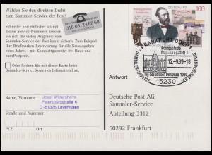 1912 Stephan auf AK Reichspostamt SSt Frankfurt/Oder Denkmal Postgebäude 12.9.99