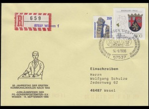 Kommunalwahlen-Jubiläum MiF Not-R-Zettel R-Bf. SSt Wissen Sonderpostämter14.9.96