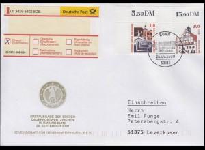SWK Brücke Regensburg & Rathaus Grimma, Eckstücke, R-FDC ESSt Bonn 28.9.2000
