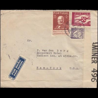 USA-Zensur 496 auf Portugal-Brief 550+595+623 MiF LISBOA / LISSABON 25.11.1940