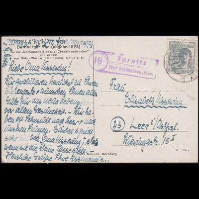 Landpost-Stempel Tornitz über SCHÖNEBECK (ELBE) 6.1.1948 auf AK Bernburger Tor