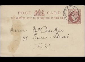 Großbritannien Postkarte P 5 Königin Viktoria Half Penny LONDON E.C. 3 - 19.2.81