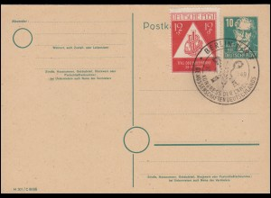 SBZ-Postkarte P 35/01 Bebel 10 Pf mit 228 Blanko-Karte SSt BERLIN 16.3.1949