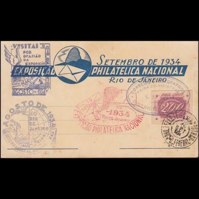 Brasilien Schmuck-PK Nationale Briefmarkenausstellung Rio de Janeiro 16.9.1934