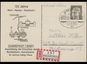 Sonder-R-Zettel 125 Jahre Main-Neckar-Eisenbahn R-Sonder-PK SSt Darmstadt 1.8.71