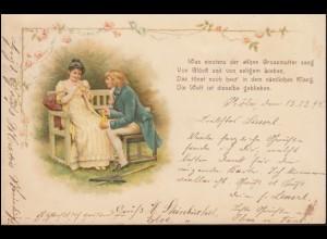 AK Verliebtes Paar mit Gedicht Die Welt ist dieselbe geblieben, CÖLN 13.12.1898