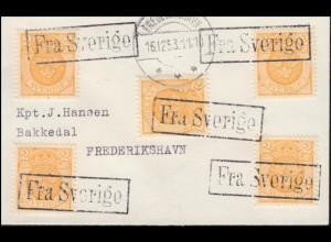 """Schweden Schiffspost / Hafenpostamt oder Fähre: Brief R1 """"Fra Sverige"""" 16.12.53"""