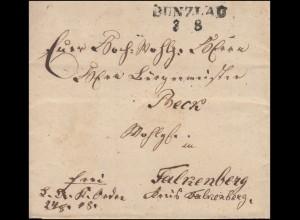Preußen Vorphilatelie Faltbrief Zweizeiler BUNZLAU 3.8.1849 nach Falkenberg