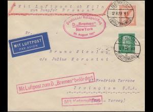 Katapultpost Katapultflug S.S. BREMEN - NEW YORK 20.8.1929 - Haberer 3c