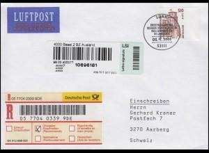 2225 SWK Heidelberger Schloss, Randstück, Auslands-R-FDC ESSt Bonn 8.11.2001