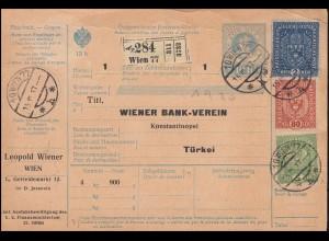 Österreich Paketkarte mit Wappen-Zusatzfrankatur WIEN 15.3.1917 in die Türkei