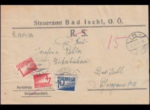 Österreich Portomarken P 132+135+139 auf Orts-Brief Steueramt BAD ISCHL 18.2.26