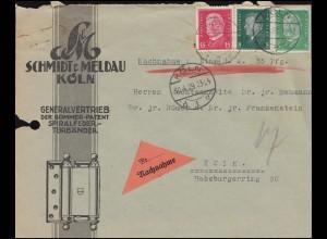 411+412+414 Ebert-Hindenburg-MiF portogerecht auf NN-Orts-Brief KÖLN 30.4.1929