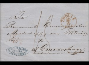 Niederlande Vorphilatelie Brief ZWOLLE 10.4.1855 nach s'Gravenhage 11.4.1855