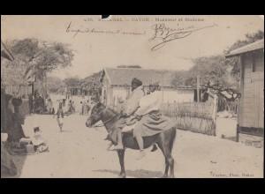 AK Senegal Cayor Mann und Frau auf einem Pferd, DAKAR um 1900 nach Paris