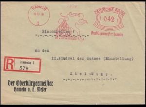 AFS Oberbürgermeister Hameln 9.10.34 Die Rattenfängerstadt auf R-Brief nach Kiel