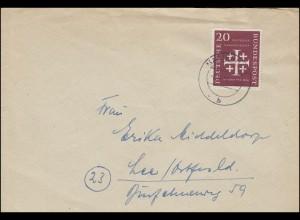 236 Deutscher Evangelischer Kirchentag 20 Pf EF auf FDC MARIENHAFE 8.8.1956