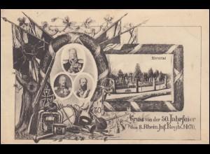 AK Gruss von der 50. Jahrfeier des 8. Rhein. Inf. Regts. Nr. 70, CONZ 6.8.1919
