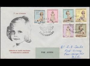 Luxemburg 660-665 Caritas 1960, Satz auf Schmuck-FDC in die USA