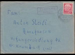 Landpost Trockau über Pegnitz, Fernbrief SSt PEGNITZ Fränkische Schweiz 12.11.57