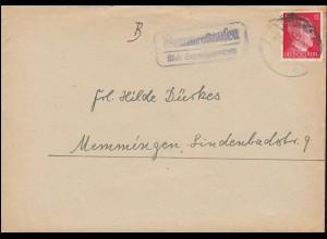 Landpost Memmenhausen über SCHWABMÜNCHEN Oktober 1943 auf Brief nach Memmingen