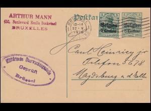 Zensur Belgien Postkarte P 1 mit Zusatzfrankatur BRÜSSEL 22.5.16 nach Magdeburg