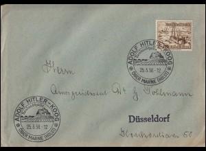 651 WHW 2 Pf. als EF auf Drucksache SSt ADOLF-HITLER-KOOG 25.3.1938