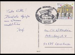 2028 Weimar, AK Nationaltheater, SSt Weimar Europas Kulturstadt Satellit 31.7.99